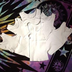 6 Boys White Under Shirts